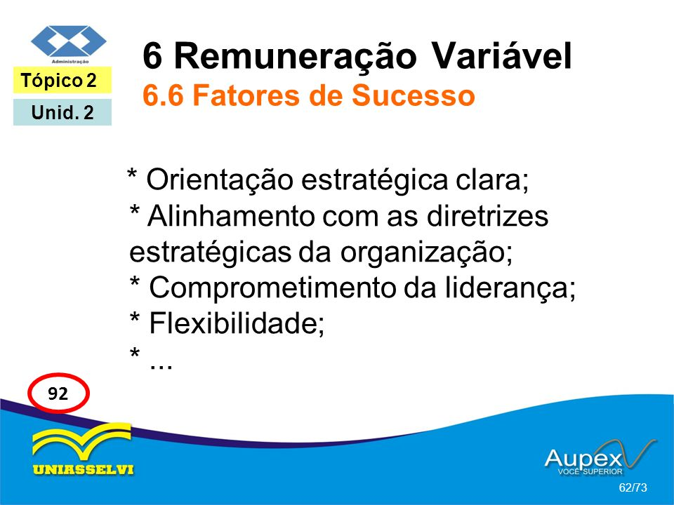 6 Remuneração Variável 6.6 Fatores de Sucesso * Orientação estratégica clara; * Alinhamento com as diretrizes estratégicas da organização; * Compromet