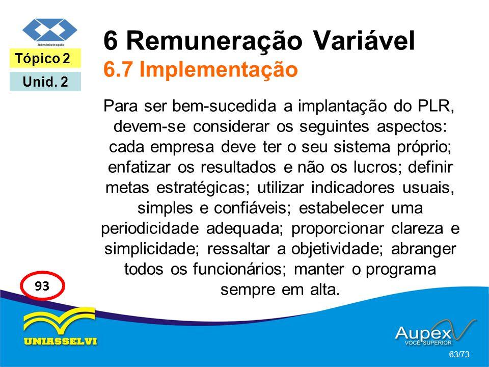 6 Remuneração Variável 6.7 Implementação Para ser bem-sucedida a implantação do PLR, devem-se considerar os seguintes aspectos: cada empresa deve ter