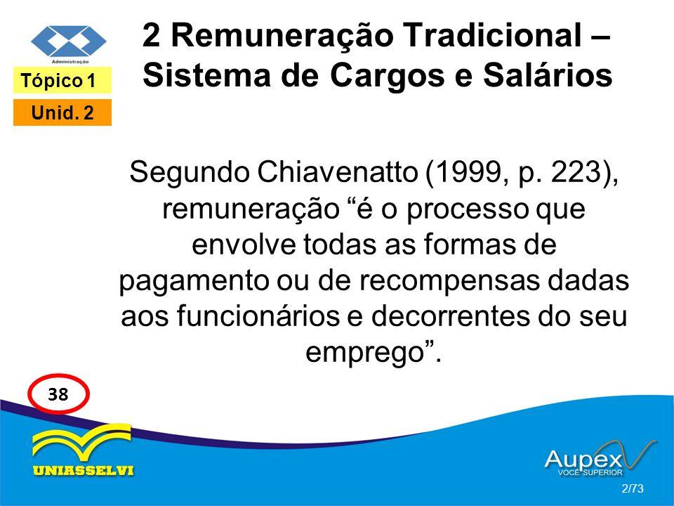 2 Remuneração Tradicional – Sistema de Cargos e Salários Segundo Chiavenatto (1999, p. 223), remuneração é o processo que envolve todas as formas de p