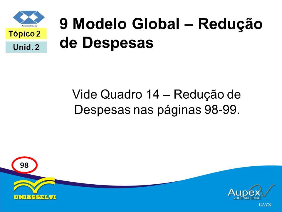 9 Modelo Global – Redução de Despesas Vide Quadro 14 – Redução de Despesas nas páginas 98-99. 67/73 Tópico 2 Unid. 2 98