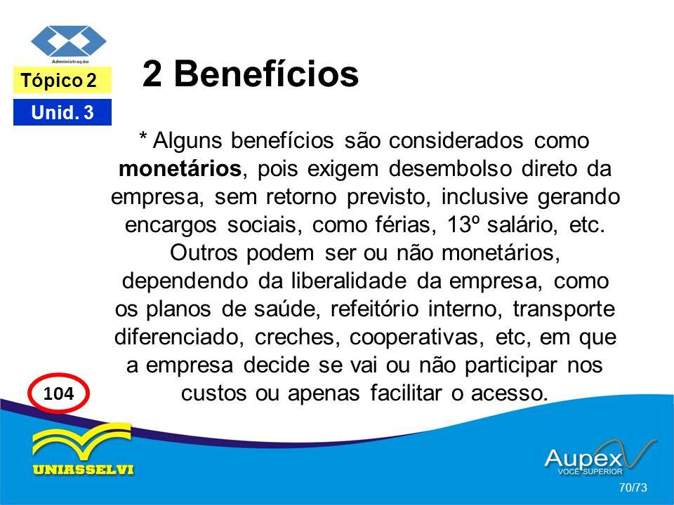 2 Benefícios * Alguns benefícios são considerados como monetários, pois exigem desembolso direto da empresa, sem retorno previsto, inclusive gerando e