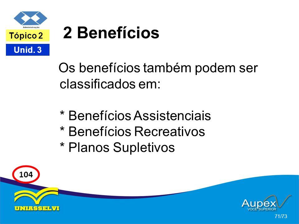 2 Benefícios Os benefícios também podem ser classificados em: * Benefícios Assistenciais * Benefícios Recreativos * Planos Supletivos 71/73 Tópico 2 U