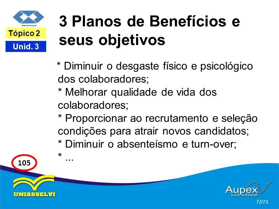 3 Planos de Benefícios e seus objetivos * Diminuir o desgaste físico e psicológico dos colaboradores; * Melhorar qualidade de vida dos colaboradores;