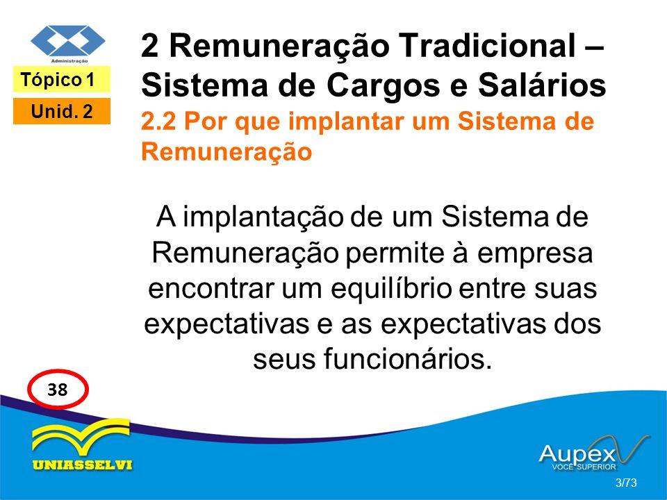 2 Remuneração Tradicional – Sistema de Cargos e Salários 2.2 Por que implantar um Sistema de Remuneração A implantação de um Sistema de Remuneração pe