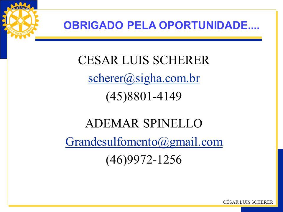 CÉSAR LUIS SCHERER CESAR LUIS SCHERER scherer@sigha.com.br (45)8801-4149 ADEMAR SPINELLO Grandesulfomento@gmail.com (46)9972-1256 OBRIGADO PELA OPORTU