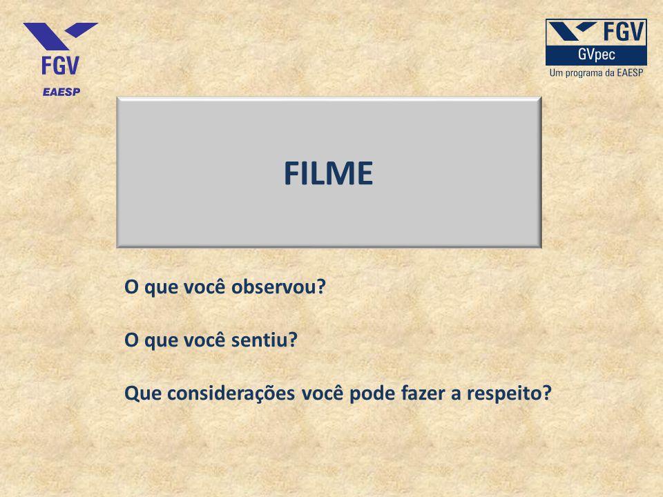 FILME O que você observou? O que você sentiu? Que considerações você pode fazer a respeito?