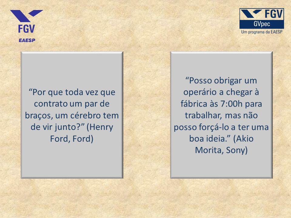 Por que toda vez que contrato um par de braços, um cérebro tem de vir junto? (Henry Ford, Ford) Posso obrigar um operário a chegar à fábrica às 7:00h