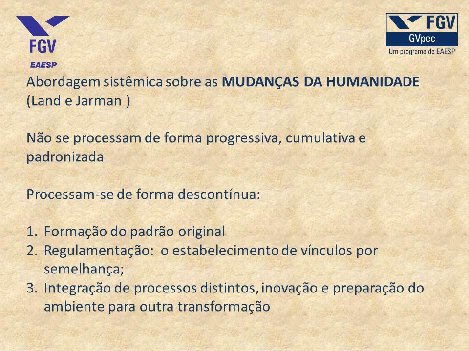 Abordagem sistêmica sobre as MUDANÇAS DA HUMANIDADE (Land e Jarman ) Não se processam de forma progressiva, cumulativa e padronizada Processam-se de f