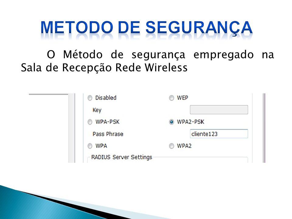 O Método de segurança empregado na Sala de Recepção Rede Wireless