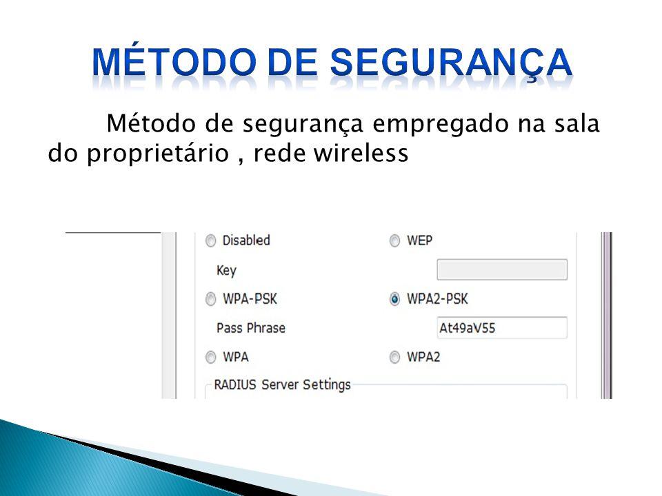 Método de segurança empregado na sala do proprietário, rede wireless