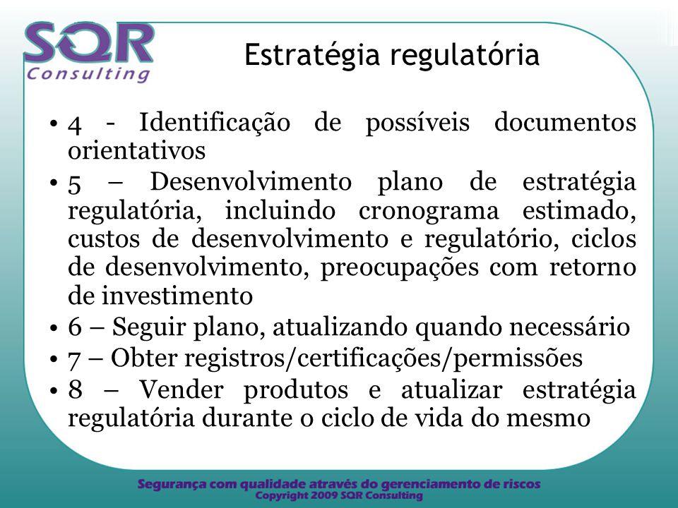 Estratégia regulatória 4 - Identificação de possíveis documentos orientativos 5 – Desenvolvimento plano de estratégia regulatória, incluindo cronograma estimado, custos de desenvolvimento e regulatório, ciclos de desenvolvimento, preocupações com retorno de investimento 6 – Seguir plano, atualizando quando necessário 7 – Obter registros/certificações/permissões 8 – Vender produtos e atualizar estratégia regulatória durante o ciclo de vida do mesmo