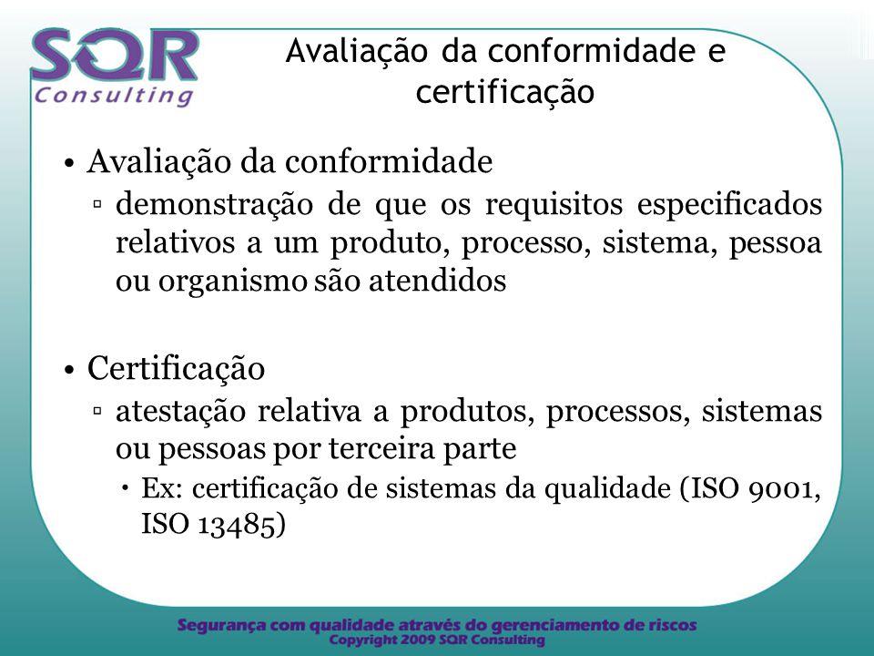 Avaliação da conformidade e certificação Avaliação da conformidade demonstração de que os requisitos especificados relativos a um produto, processo, sistema, pessoa ou organismo são atendidos Certificação atestação relativa a produtos, processos, sistemas ou pessoas por terceira parte Ex: certificação de sistemas da qualidade (ISO 9001, ISO 13485)
