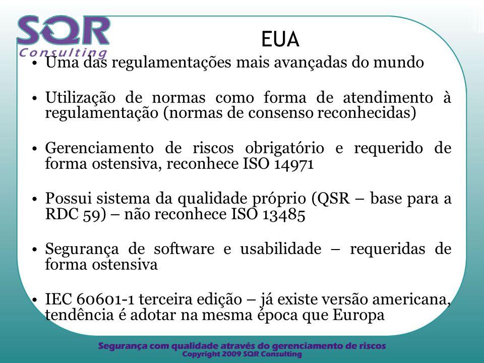 EUA Uma das regulamentações mais avançadas do mundo Utilização de normas como forma de atendimento à regulamentação (normas de consenso reconhecidas) Gerenciamento de riscos obrigatório e requerido de forma ostensiva, reconhece ISO 14971 Possui sistema da qualidade próprio (QSR – base para a RDC 59) – não reconhece ISO 13485 Segurança de software e usabilidade – requeridas de forma ostensiva IEC 60601-1 terceira edição – já existe versão americana, tendência é adotar na mesma época que Europa