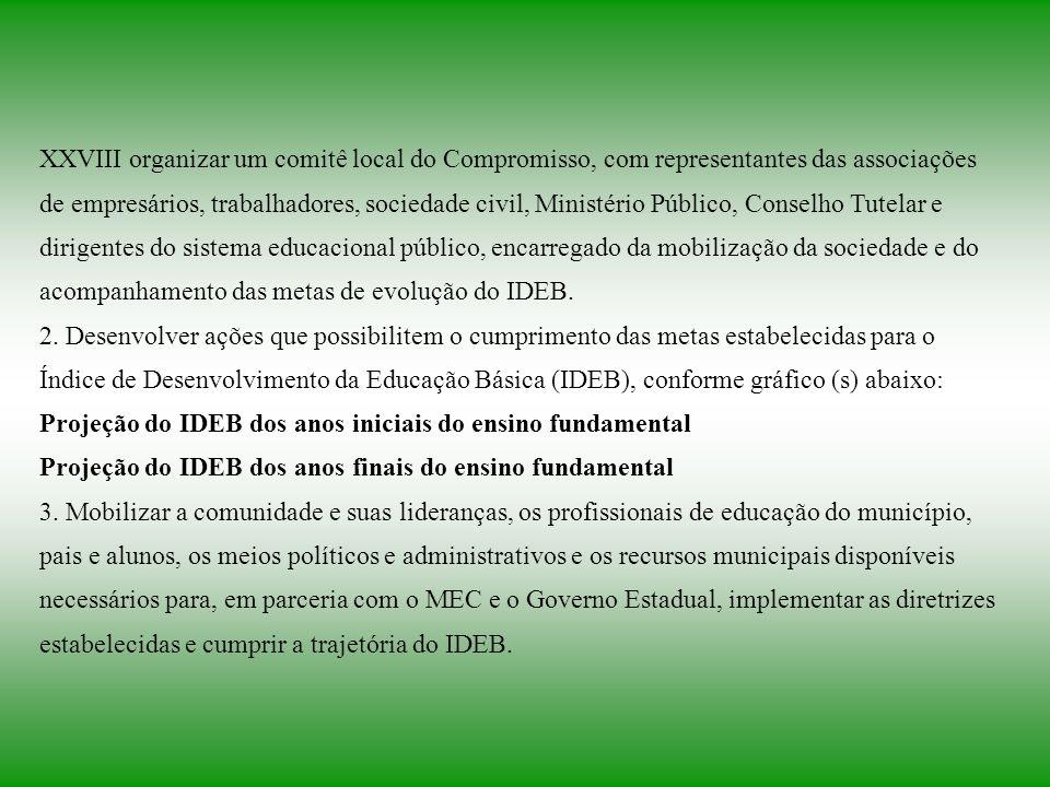 XXVIII organizar um comitê local do Compromisso, com representantes das associações de empresários, trabalhadores, sociedade civil, Ministério Público