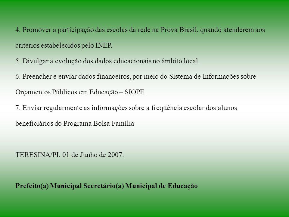 4. Promover a participação das escolas da rede na Prova Brasil, quando atenderem aos critérios estabelecidos pelo INEP. 5. Divulgar a evolução dos dad