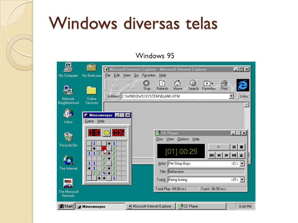 Windows diversas telas Windows 95