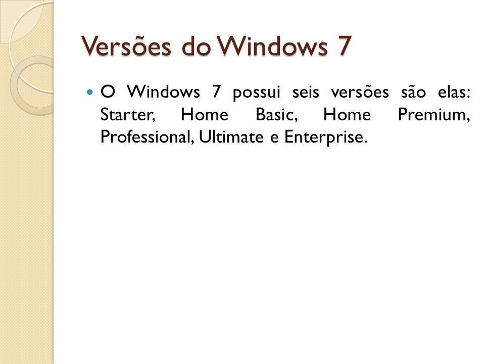 Versões do Windows 7 O Windows 7 possui seis versões são elas: Starter, Home Basic, Home Premium, Professional, Ultimate e Enterprise.