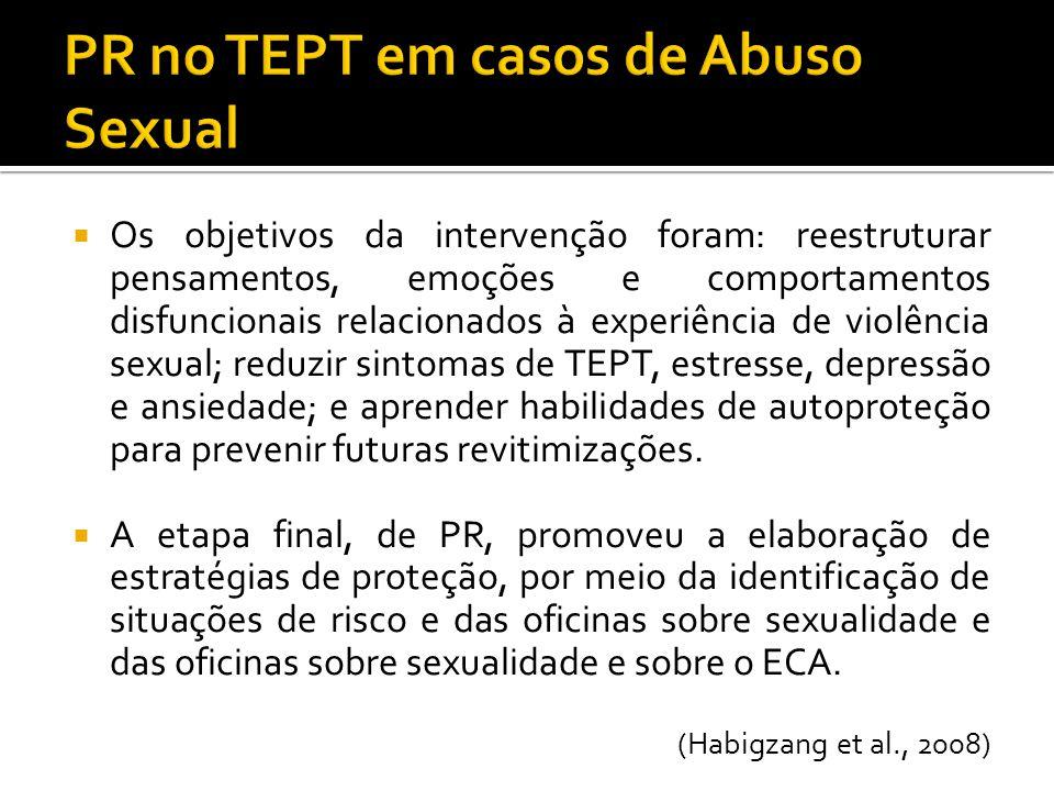 Os objetivos da intervenção foram: reestruturar pensamentos, emoções e comportamentos disfuncionais relacionados à experiência de violência sexual; re