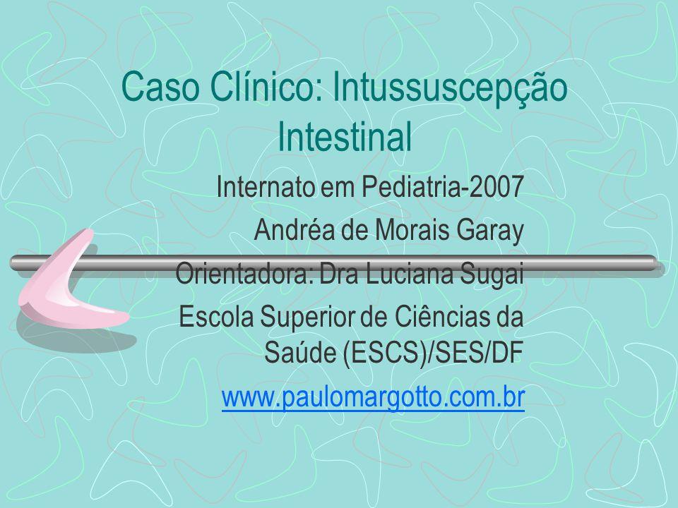 Caso Clínico: Intussuscepção Intestinal Internato em Pediatria-2007 Andréa de Morais Garay Orientadora: Dra Luciana Sugai Escola Superior de Ciências
