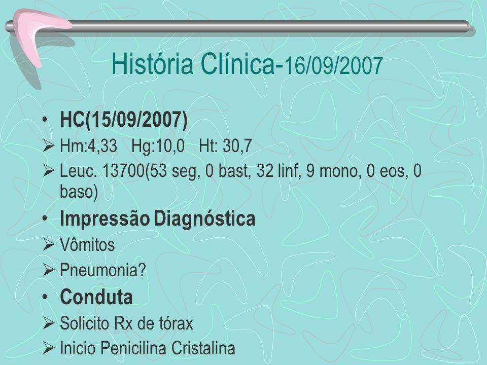 História Clínica- 16/09/2007 HC(15/09/2007) Hm:4,33 Hg:10,0 Ht: 30,7 Leuc. 13700(53 seg, 0 bast, 32 linf, 9 mono, 0 eos, 0 baso) Impressão Diagnóstica