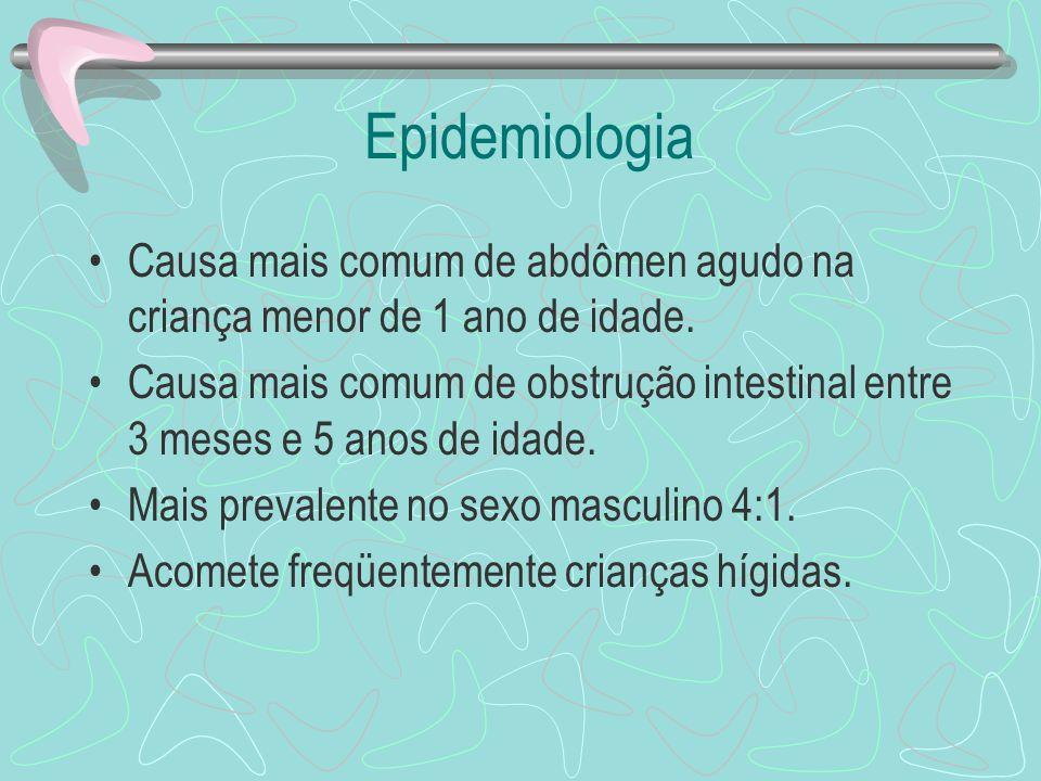 Epidemiologia Causa mais comum de abdômen agudo na criança menor de 1 ano de idade. Causa mais comum de obstrução intestinal entre 3 meses e 5 anos de