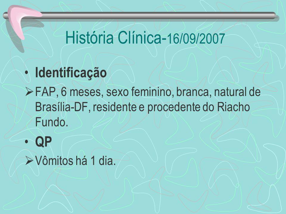 História Clínica- 16/09/2007 Identificação FAP, 6 meses, sexo feminino, branca, natural de Brasília-DF, residente e procedente do Riacho Fundo. QP Vôm