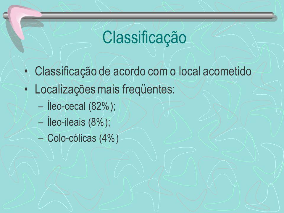 Classificação Classificação de acordo com o local acometido Localizações mais freqüentes: –Íleo-cecal (82%); –Íleo-ileais (8%); –Colo-cólicas (4%)