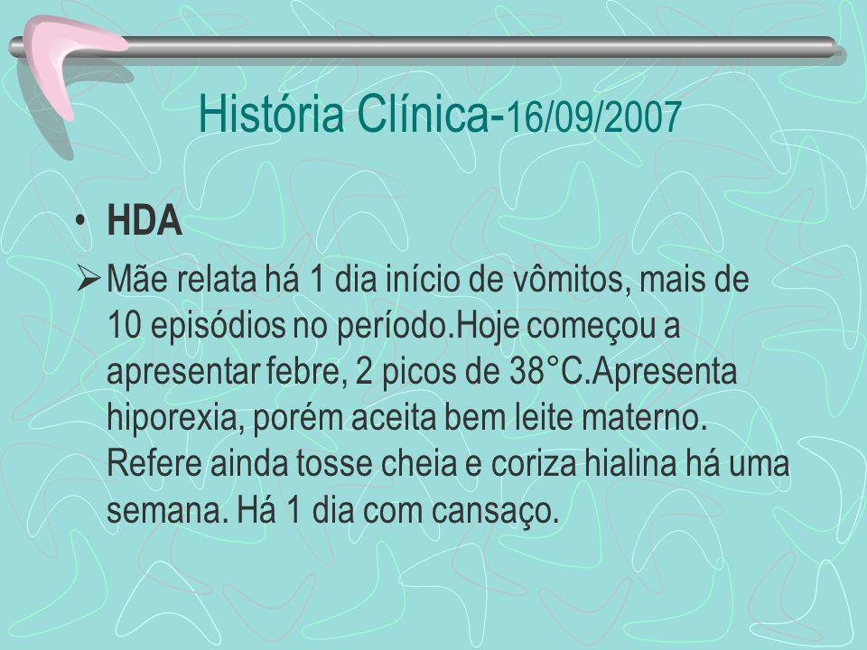 História Clínica- 16/09/2007 HDA Mãe relata há 1 dia início de vômitos, mais de 10 episódios no período.Hoje começou a apresentar febre, 2 picos de 38