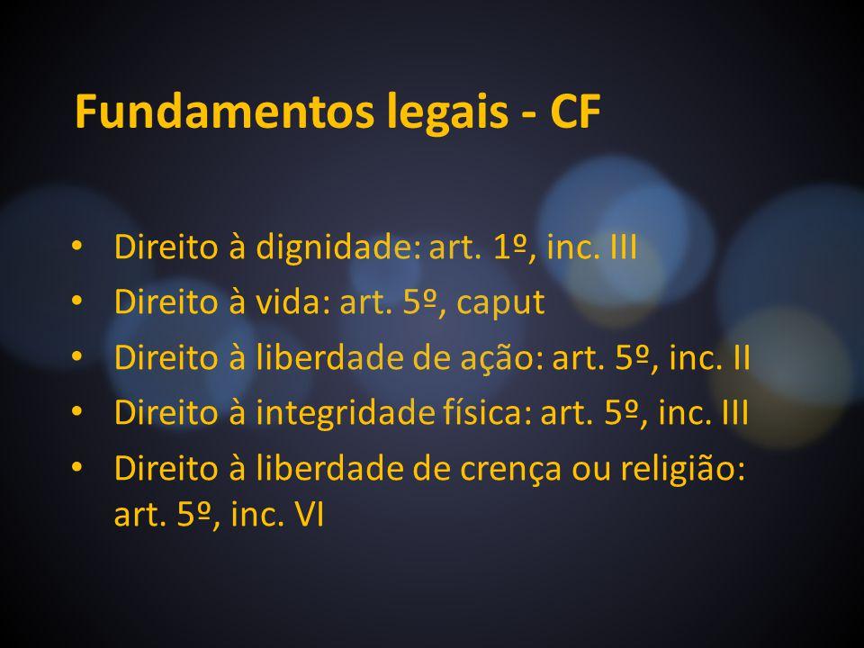 Fundamentos legais - CF Direito à dignidade: art. 1º, inc. III Direito à vida: art. 5º, caput Direito à liberdade de ação: art. 5º, inc. II Direito à