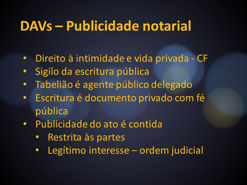 DAVs – Publicidade notarial Direito à intimidade e vida privada - CF Sigilo da escritura pública Tabelião é agente público delegado Escritura é docume