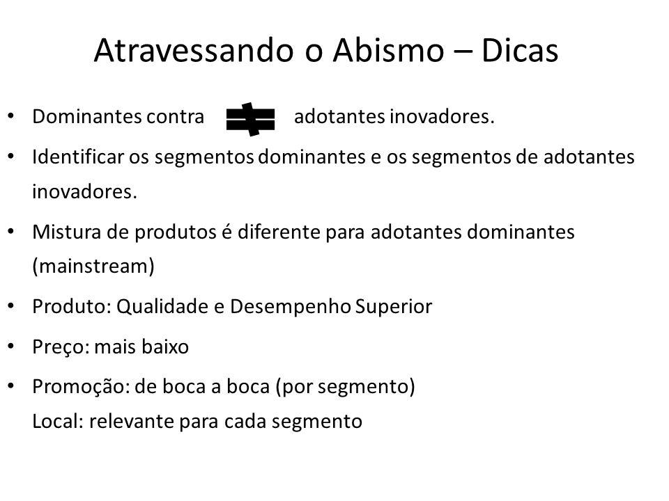 Atravessando o Abismo – Dicas Dominantes contra adotantes inovadores.