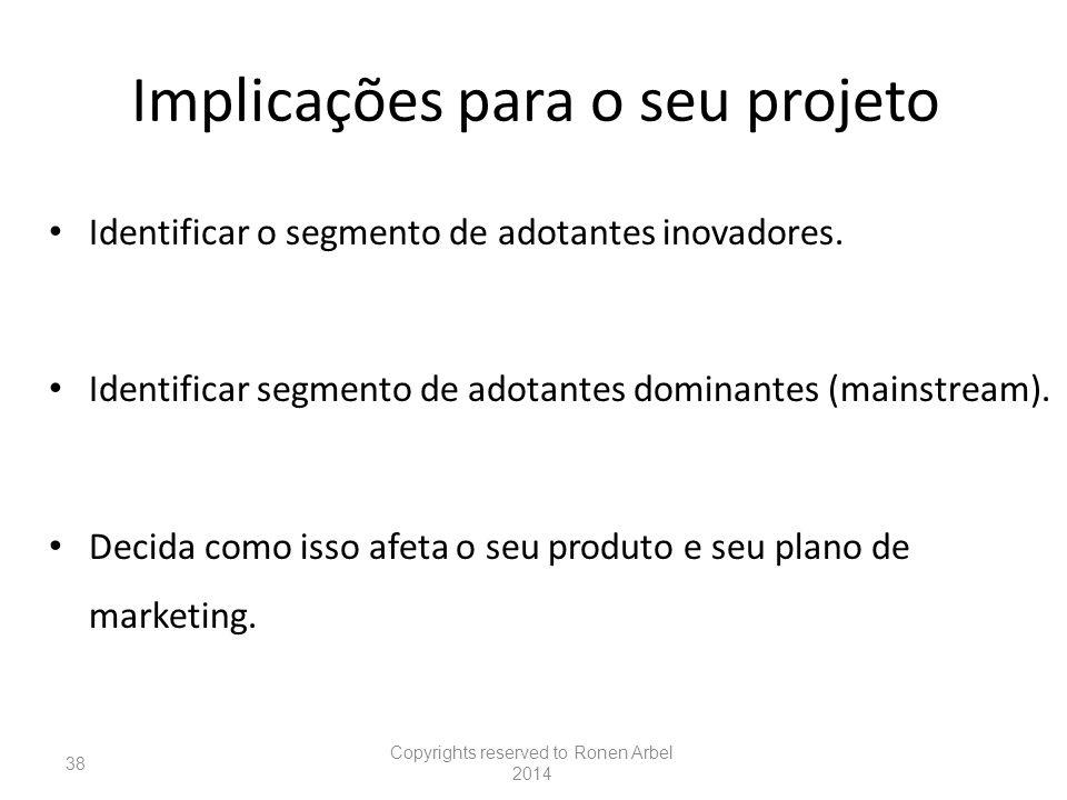 Implicações para o seu projeto Identificar o segmento de adotantes inovadores.
