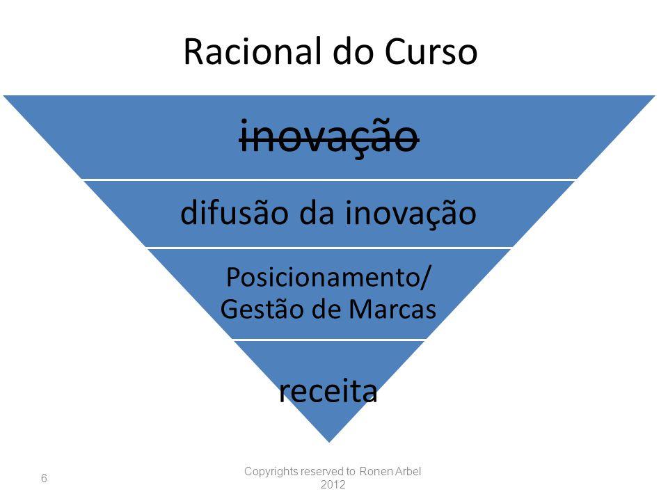 Racional do Curso inovação difusão da inovação Posicionamento/ Gestão de Marcas receita Copyrights reserved to Ronen Arbel 2012 6