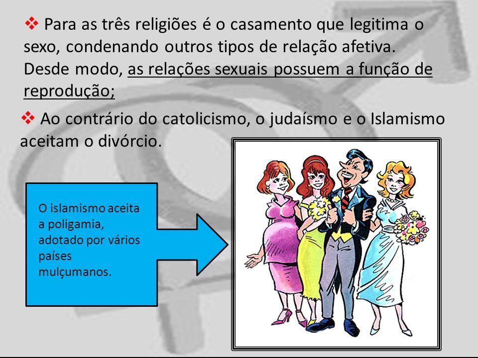 Para as três religiões é o casamento que legitima o sexo, condenando outros tipos de relação afetiva. Desde modo, as relações sexuais possuem a função