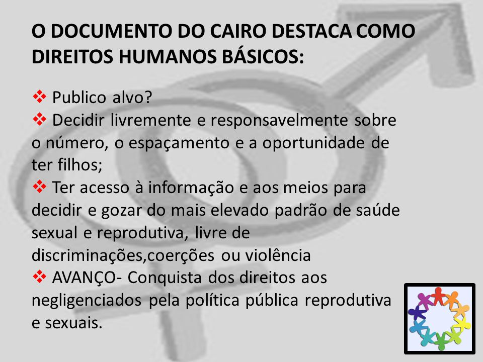 O DOCUMENTO DO CAIRO DESTACA COMO DIREITOS HUMANOS BÁSICOS: Publico alvo? Decidir livremente e responsavelmente sobre o número, o espaçamento e a opor