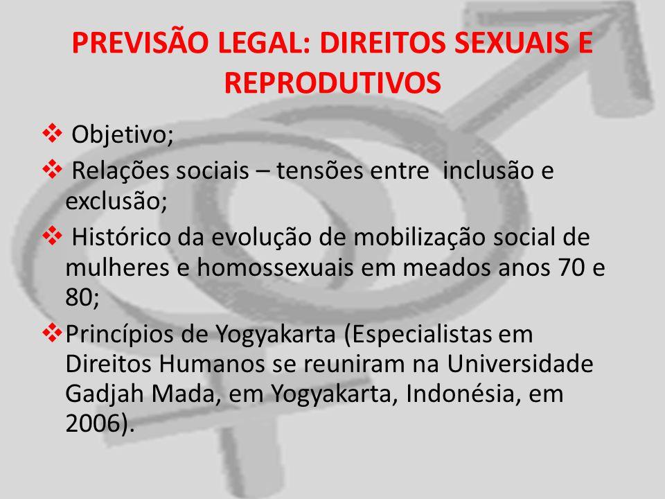PREVISÃO LEGAL: DIREITOS SEXUAIS E REPRODUTIVOS Objetivo; Relações sociais – tensões entre inclusão e exclusão; Histórico da evolução de mobilização s