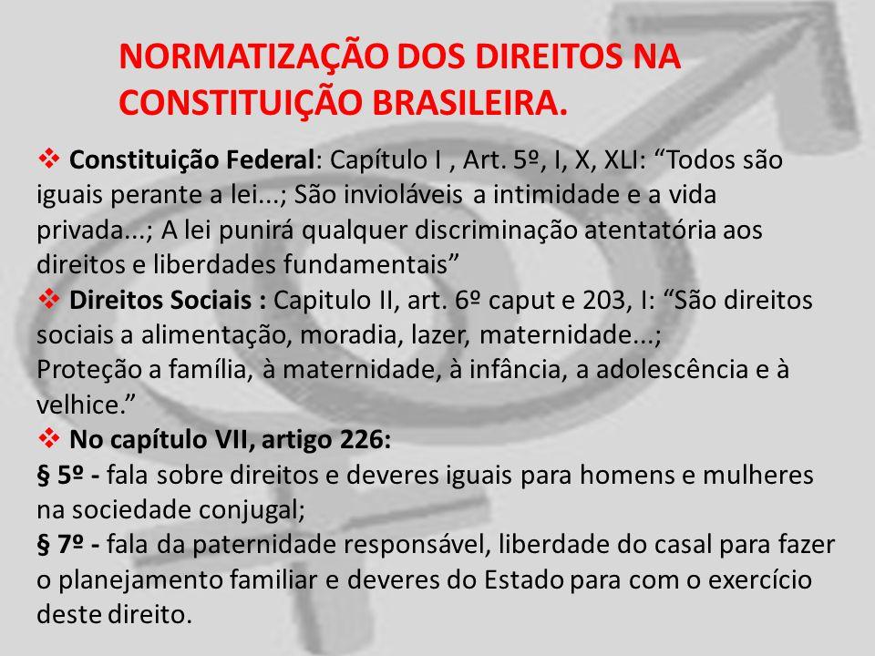 NORMATIZAÇÃO DOS DIREITOS NA CONSTITUIÇÃO BRASILEIRA. Constituição Federal: Capítulo I, Art. 5º, I, X, XLI: Todos são iguais perante a lei...; São inv