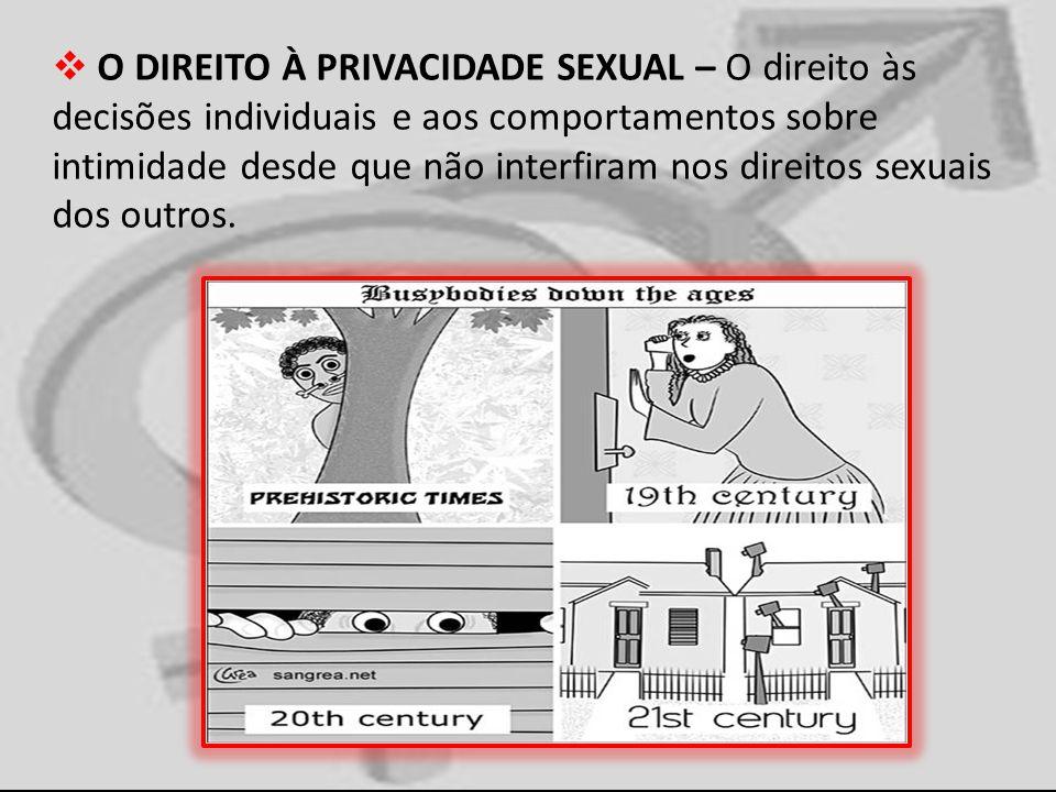 O DIREITO À PRIVACIDADE SEXUAL – O direito às decisões individuais e aos comportamentos sobre intimidade desde que não interfiram nos direitos sexuais