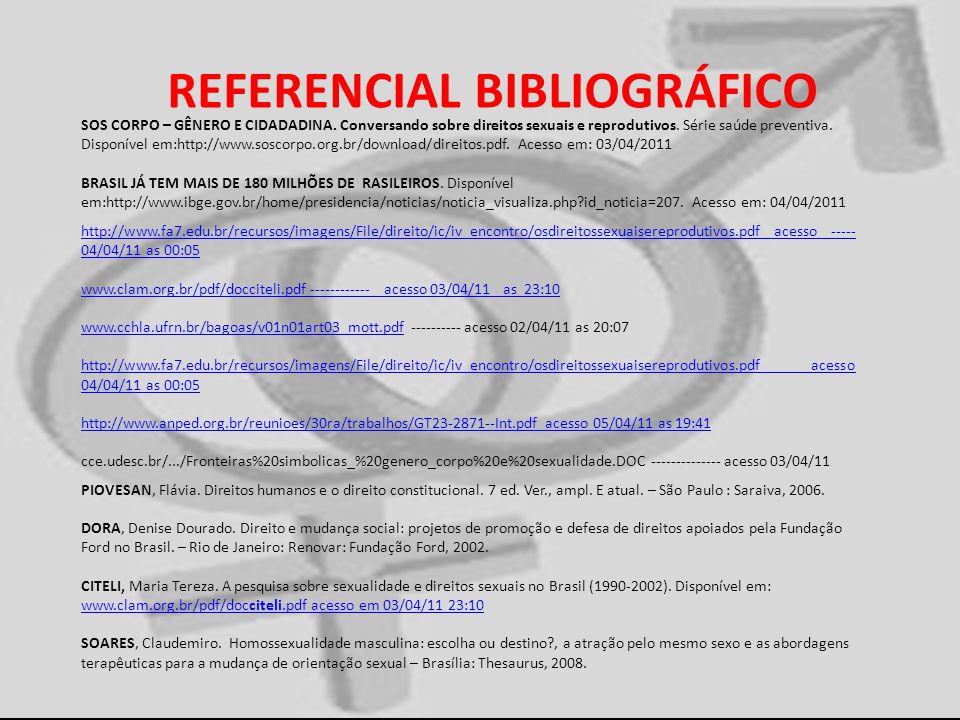 REFERENCIAL BIBLIOGRÁFICO SOS CORPO – GÊNERO E CIDADADINA. Conversando sobre direitos sexuais e reprodutivos. Série saúde preventiva. Disponível em:ht