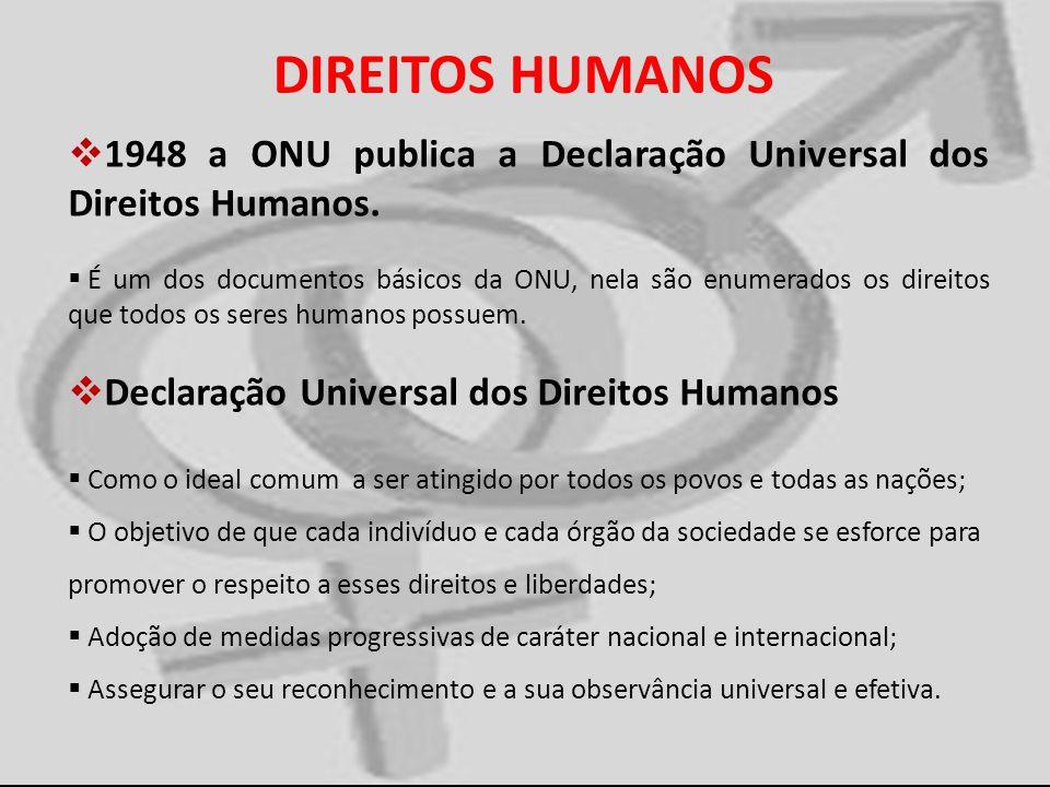 DIREITOS HUMANOS 1948 a ONU publica a Declaração Universal dos Direitos Humanos. É um dos documentos básicos da ONU, nela são enumerados os direitos q