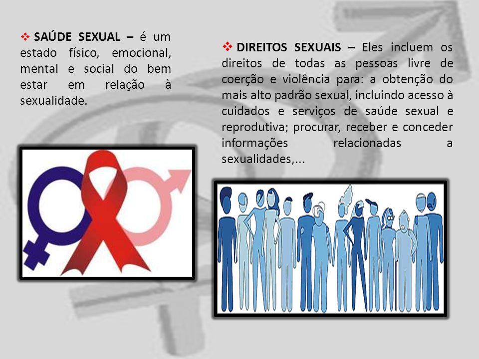 SAÚDE SEXUAL – é um estado físico, emocional, mental e social do bem estar em relação à sexualidade. DIREITOS SEXUAIS – Eles incluem os direitos de to