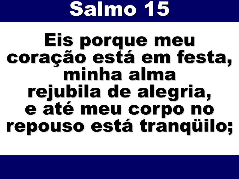 Eis porque meu coração está em festa, minha alma rejubila de alegria, e até meu corpo no repouso está tranqüilo; Salmo 15