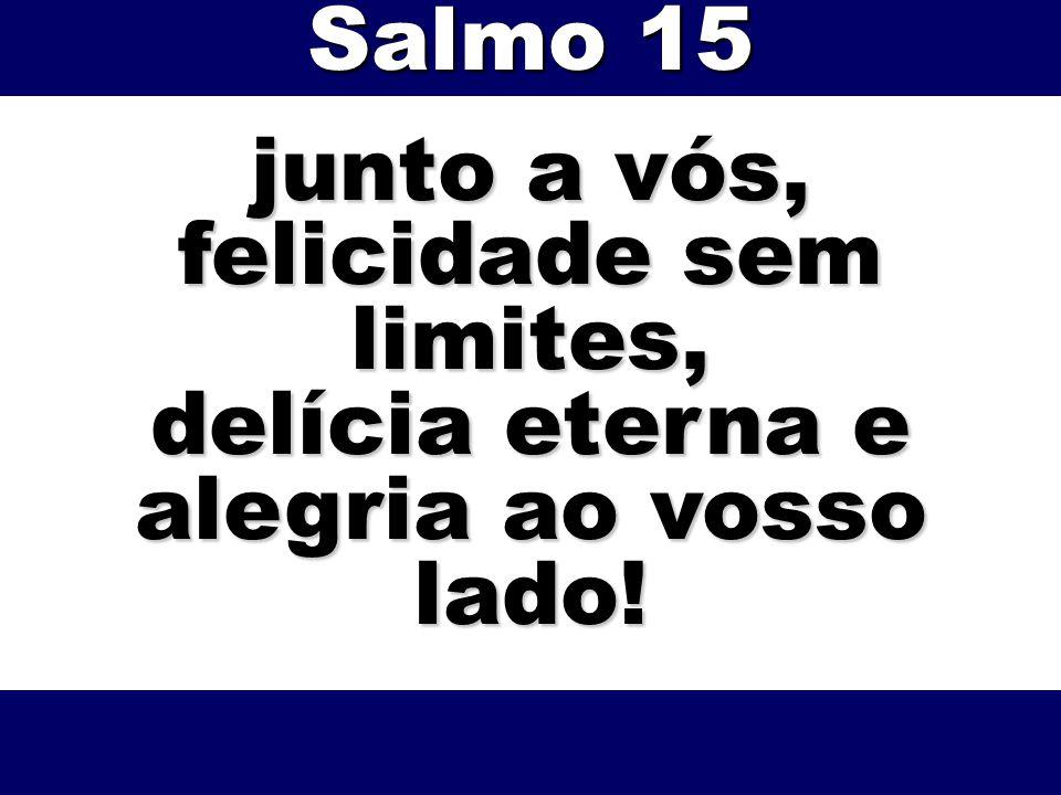 junto a vós, felicidade sem limites, delícia eterna e alegria ao vosso lado! Salmo 15