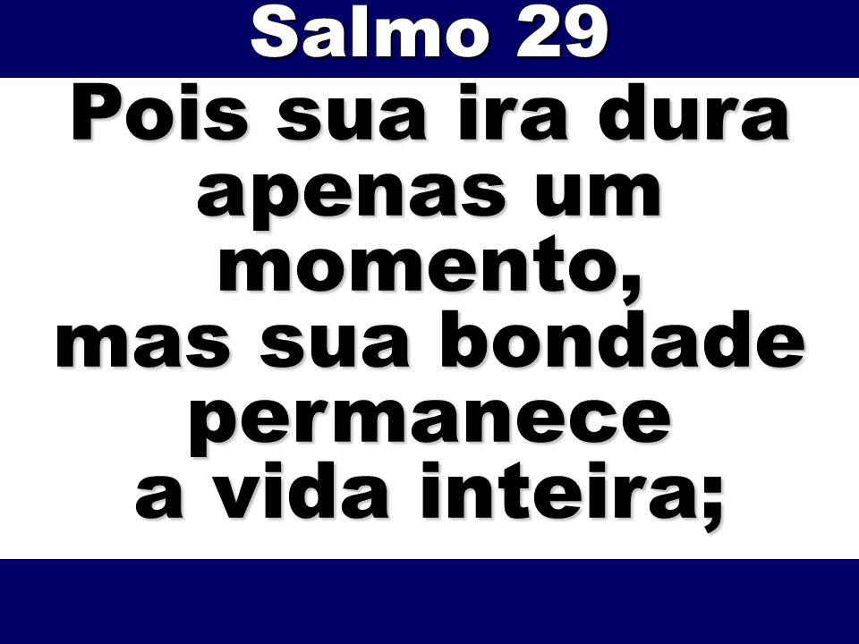 Pois sua ira dura apenas um momento, mas sua bondade permanece a vida inteira; Salmo 29
