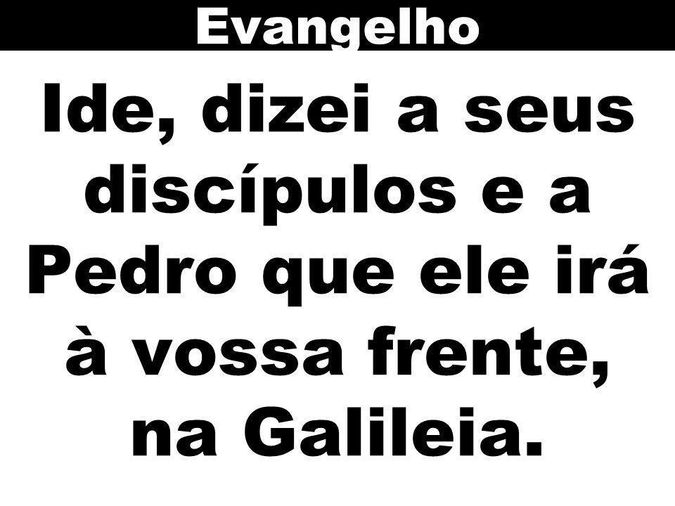 Ide, dizei a seus discípulos e a Pedro que ele irá à vossa frente, na Galileia. Evangelho