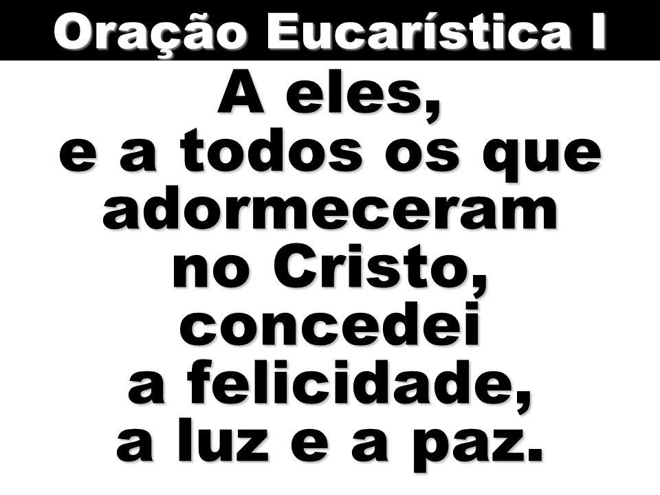 A eles, e a todos os que adormeceram no Cristo, concedei a felicidade, a luz e a paz. Oração Eucarística I