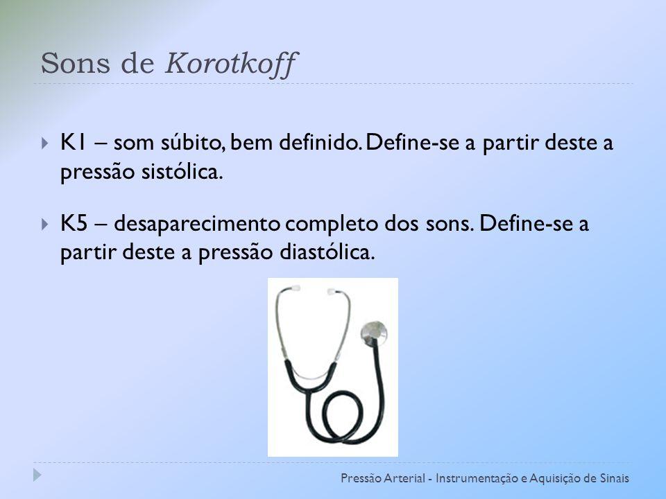 Sons de Korotkoff K1 – som súbito, bem definido.Define-se a partir deste a pressão sistólica.