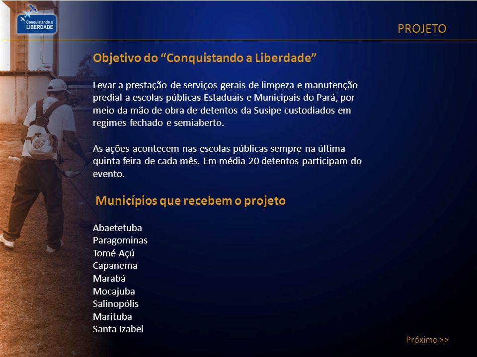 PROJETO Próximo >> Histórico O Conquistando a Liberdade existe desde 2003.