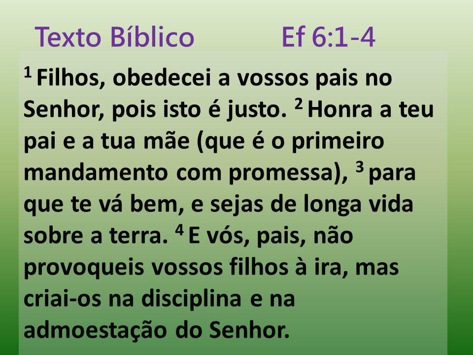 1 Filhos, obedecei a vossos pais no Senhor, pois isto é justo. 2 Honra a teu pai e a tua mãe (que é o primeiro mandamento com promessa), 3 para que te