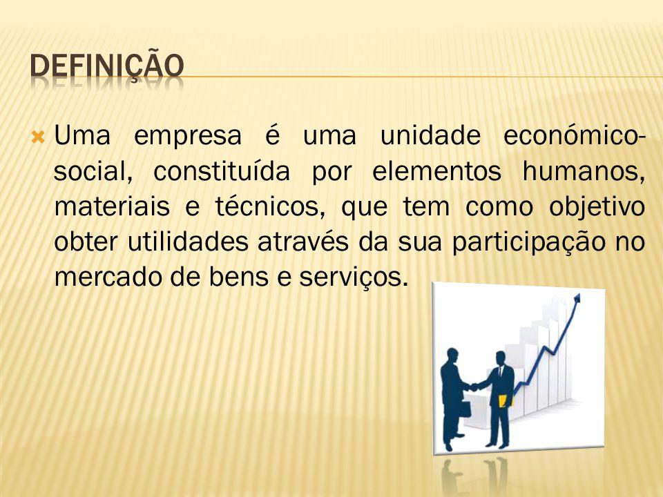 Uma empresa é uma unidade económico- social, constituída por elementos humanos, materiais e técnicos, que tem como objetivo obter utilidades através da sua participação no mercado de bens e serviços.